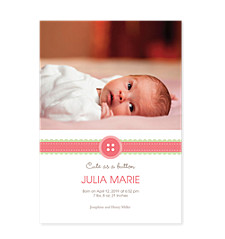 Ribbon Photo Birth Announcement Cards