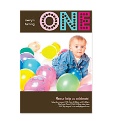 Turning One Girl Photo Kid Party Invitations