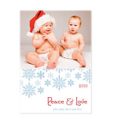 Blue Flakes on White Christmas Photo Cards