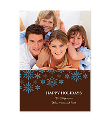 Blue Flakes on Brown Christmas Photo Cards