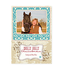 Damask Christmas Photo Cards