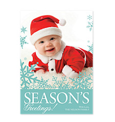 Teal Flakes Holiday Photo Cards