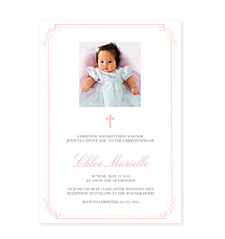 Pink Christening Border Invitations