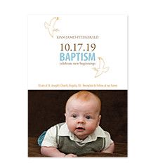 Baptism Doves Kids Photo Party Invitations
