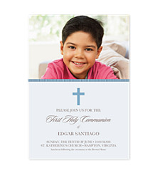 Blue Communion Kid Party Invitations