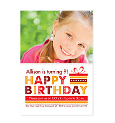 Stars and Stripes Kid Birthday Party Invitations